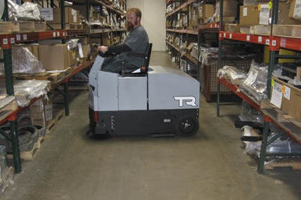 dust free floor sweeping with a rider sweeper