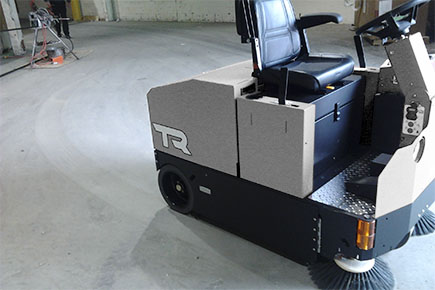 Battery powered ride-on sweeper for large area dust free sweeping